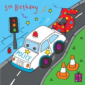 Police Car Birthday Card - age 5